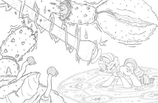 MLP - Rarity Vs. Giant Crab (sketch) by FireBrandKun