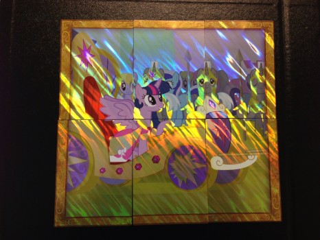 Here's the cards assembled correctly to form the shiny image of Princess Twilight Sparkle riding in her chariot.