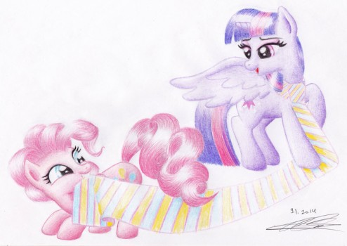 A tie between Pinkie Pie and Twiligh by Hamii