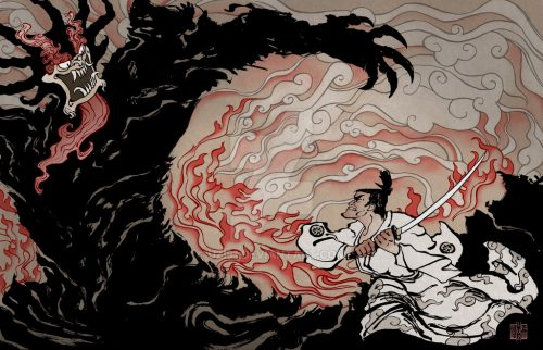 Samurai Jack vs. Aku by uzi91