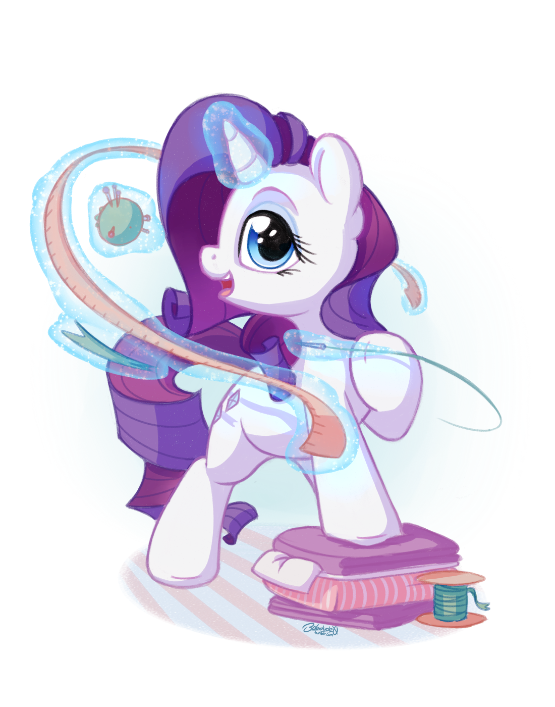 1406106__safe_artist-colon-bobdude0_rarity_cute_female_glowing+horn_looking+at+you_magic_mare_measuring+tape_open+mouth_pincushion_pony_raised+hoof_rar[1]