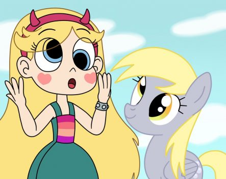 Star Butterfly and Derpy Hooves in the silly eyes by Deaf-Machbot